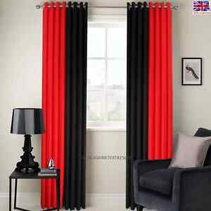 RING TOP FULLY LINED BLACK/RED 2 TONE STRIPE READY MADE EYELET CURTAINS FREE P&P