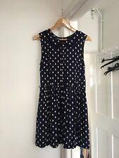 Oasis Size Uk 12 Sleeveless Blue And White Spot Dress.   (a6)
