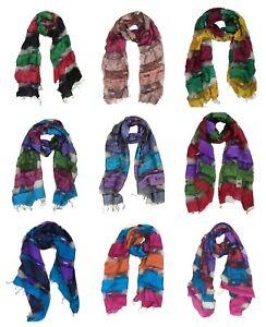 Lightweight Viscose Stripe Design Scarf Shawl Colourful Block Colour Long Wrap