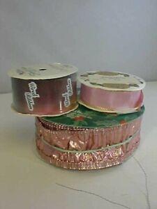 Wired Ribbon Lot of 3 Rolls One Rainbow Gradation One Pink One Mauve Metallic