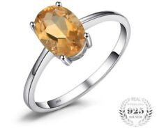 Oval 1.1ct Natural Citrine Solitaire Ring 925 Sterling Silver Engagement