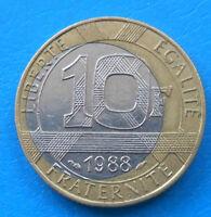 MONNAIE FAUTEE 10 francs Génie 1988 coeur décentré