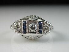 Art Deco Platinum Old European Diamond Swiss Cut Sapphires Antique Estate