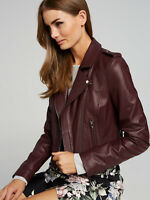Womens Leather Jacket Burgundy Biker Motorcycle Real Lambskin Size S M L XL XXL
