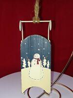 "Wood & Metal Sled Christmas Ornament Snowman 6"" long"
