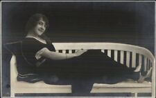 Beautiful Woman on Bench Fadeaway Trick Photography Effect c1910 RPPC