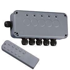 Caja de Interruptor 13A de 5 canales con iluminación exterior de control remoto inalámbrico impermeable IP66