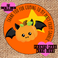 Personalised Halloween party bag stickers 24 trick or treat pumpkin bat