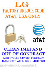 unlock code at&t usa lg Phoenix P505 clean imei and out of contract only