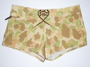 BIRDWELL BEACH BRITCHES Camo Board Shorts 405 Frog Skin Camouflage Womens NEW 14