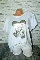 Italy New Collection Mickey Mouse T-Shirt weiß Gr. 36 38 40 42 blogger silber