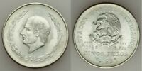 Mexico Crown Size Silver Coin 1953 Five or Cinco Pesos Miguel Hidalgo's Bust AU+
