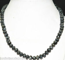 """NEW 5x8 mm faceted black gray Labradorite gemstone abacus necklace 18 """""""