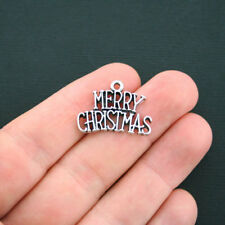 4 Merry Christmas Charms Antique Silver Tone - SC2860