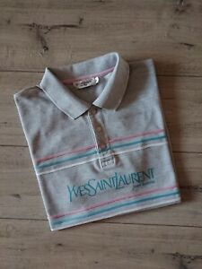 Yves Saint Laurent YSL Vintage Men T-Shirt Polo Big Logo Gray Size XL