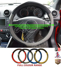 UNIVERSAL BLACK//BEIGE 37 TO 39CM FAUX LEATHER STEERING WHEEL COVER-SKD