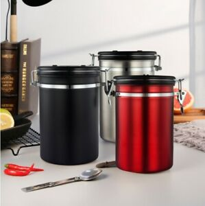 Coffee Container with Spoon Airtight Vacuum Seal Kitchen Storage Canister 1.8L