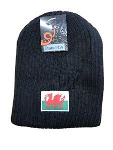 BLACK WELSH FLAG design Ribbed Wooly Reversable BEANIE / SKI HAT, Wales, Cymru
