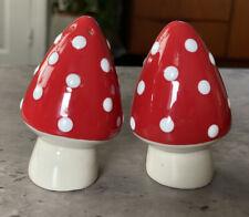 More details for cath kidston toadstool mushroom salt & pepper set - rare red set - new