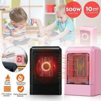 Portable 500W Mini Ceramic Heater Cooler Electric Fan Home Warmer Office Z6E9