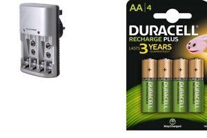 Lloytron Mains Battery Charger + 4 x Duracell AA 1300 mAh Rechargeable Batteries