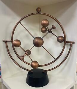 Antique Metal Rotate Sphere Globe Armillary Handmade Black Decor Huge Old Statue