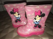 GIRLS PINK MINNIE MOUSE WITH 3D MINNIE CHILDS WELLINGTON BOOTS DISNEY UK 4 EU 27