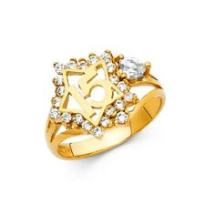 15mm Star 15 Anos High Polished Band 14k Yellow Solid Gold CZ Quinceañera Ring