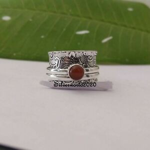 Carnelian Spinner Ring 925 Sterling Silver Plated Handmade Ring Size 7.5 vi338