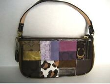 COACH PRE-OWNED HOLIDAY PATCHWORK DEMI HAIR CALF SUEDE Small bag wristlet
