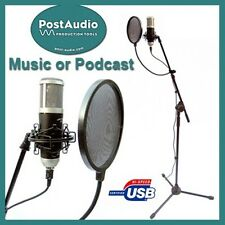 Post Audio Recording Podcast Pack USB Microphone, Mount, Pop Filter w/Boom Stand