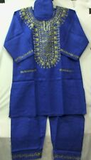 African  Men Pant Suit Outfit R Blue Gold Plus Doesn't Come in L XL 1X 2X 3X
