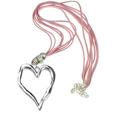 Lagenlook large silver heart pendant pink leather suede long fitting necklace