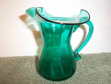Vintage Hand Blown Glass Green Pitcher With Applied Handle