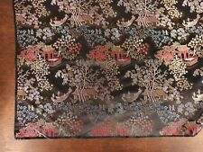 """Beautiful Fabric Satin Brocade Chinese Scenery Black 46"""" by 36"""" Remnant"""