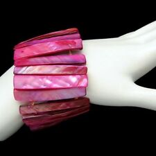 Vintage Cuff Bangle Bracelet Mid Century Dyed Mother of Pearl Fuchsia Extra Wide