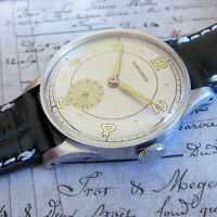 Longines Mens watch Vintage Swiss Made watch 1950s, SILVER DIAL, 17 JEWELS TOP