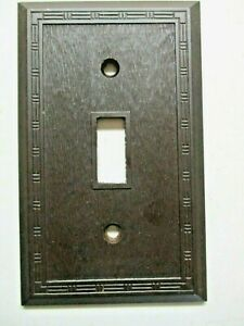 Snapit Dashed Fine Lines Brown Bakelite Textured Switch Wall Plate Cover Antique