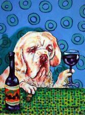 Wine art clumber spaniel dog Print poster 8x10 gift modern folk art Jschmetz