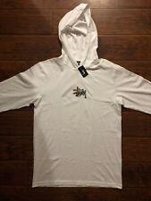 Stussy White Prism Logo Long Sleeve Hooded Tee Shirt Size Large