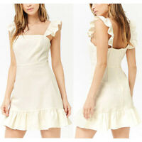 NEW Forever 21 Cream Ruffled Linen Blend Summer Casual Cute Sleeveless Dress