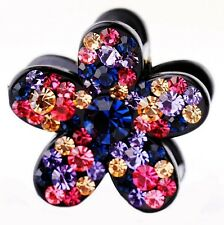 QUALITY Hair Claw using Swarovski Crystal Hairpin Clip Flower Small Pink Blue