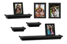 8 Piece Combo Floating Wall Shelves Contemporary Ledge Shelf & Photo Frame Set