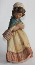 """Lladro """"Girl W-Crossed Arms"""" #2093 Figurine ~ Girl W/ Basket ~ Gres ~ Perfect ~"""