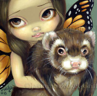 Fairy Face 97 Jasmine Becket-Griffith Fantasy Ferret Butterfly SIGNED 6x6 PRINT