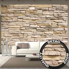 Fototapete Steinoptik 3D Schiefer Sandstein braun grau Deko Tapete 336 x 238 cm