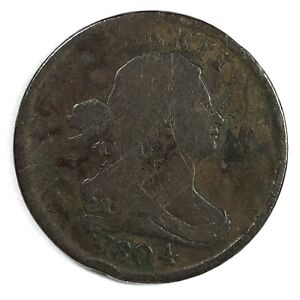 1804 United States Draped Bust Half Cent - Plain 4 - Stemless - VG