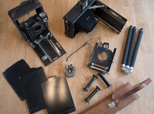 Konvolut Objektiv, Plattenkameras 9x12 cm defekt, Ersatzteile für Bastler