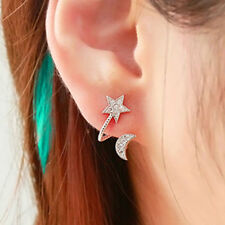Gold - Moon And Star - Sparkling Crystal Stud Earrings - Gift Boxed