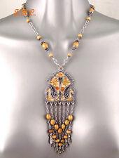 Persa marroquí bereber tribal exótico Metal Esmaltado Floral Collar de declaración